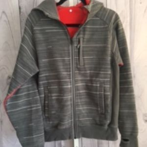 LULULEMON Men's SMALL Gray Striped Thick Hoodie
